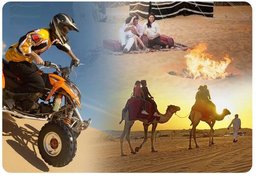 Camel ride Quad bike ride Desert safari with BBQ dinner